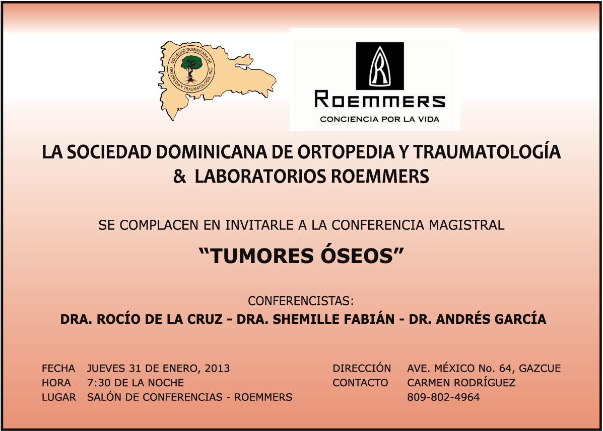 Invitación: Conferencia Magistral «Tumores Óseos»