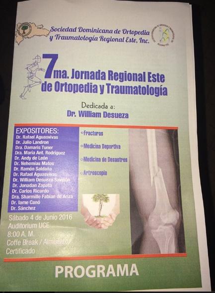 VI Jornada De Ortopedia Regional Este – 4 de Junio 2016
